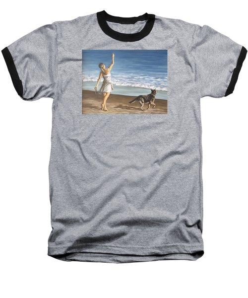 Girl And Dog Baseball T-Shirt by Natalia Tejera