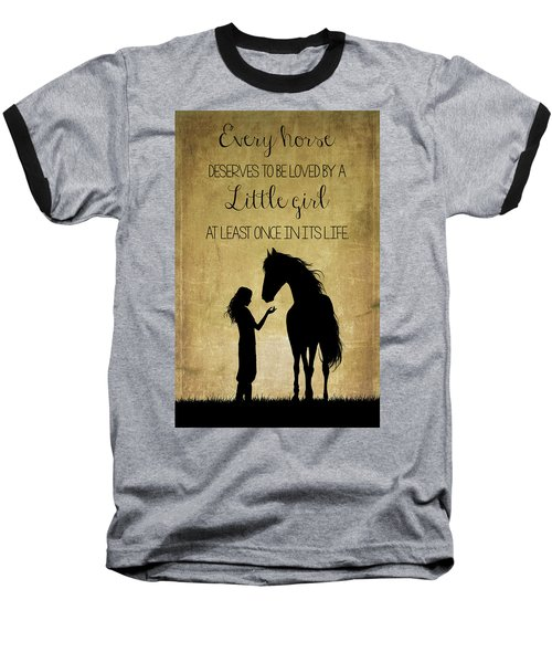 Girl And Horse Silhouette Baseball T-Shirt