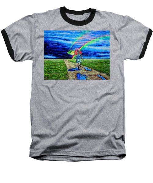 Baseball T-Shirt featuring the painting Girl And Puddle by Viktor Lazarev