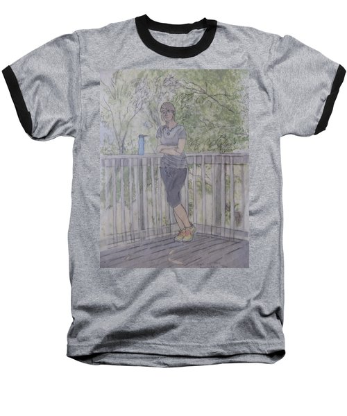 Baseball T-Shirt featuring the painting Girl At The Mountain Top by Joel Deutsch