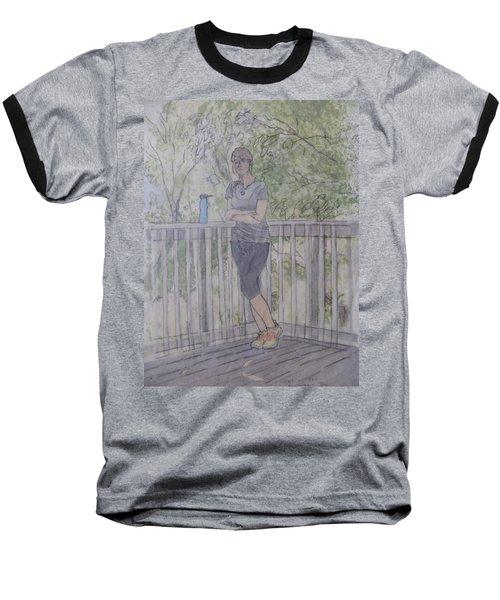 Girl At The Mountain Top Baseball T-Shirt