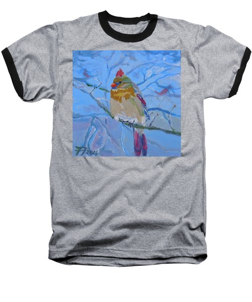 Baseball T-Shirt featuring the painting Girl Cardinal by Francine Frank