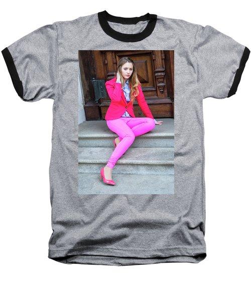 Girl Dressing In Pink Baseball T-Shirt