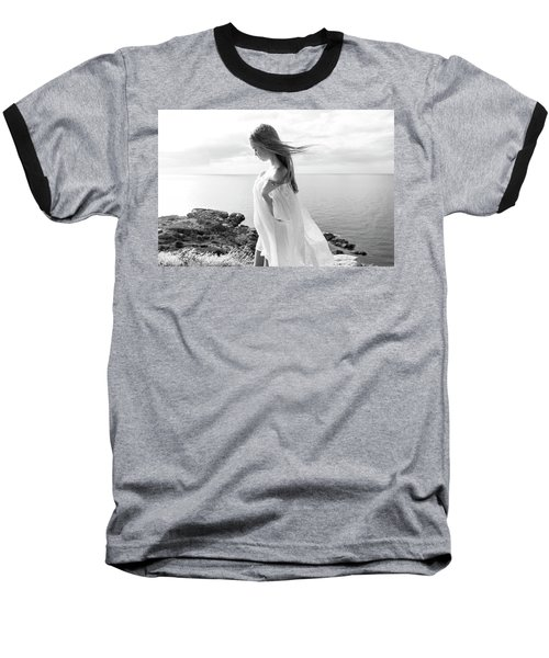 Girl In A White Dress By The Sea Baseball T-Shirt