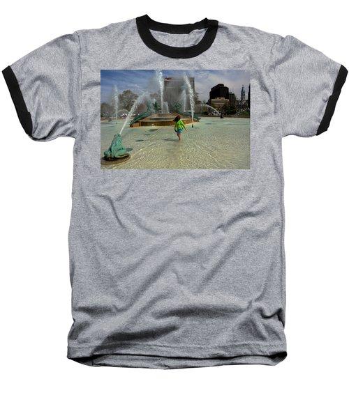 Girl In Fountain Baseball T-Shirt