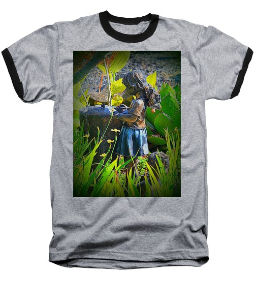 Baseball T-Shirt featuring the photograph Girl In The Garden by Lori Seaman