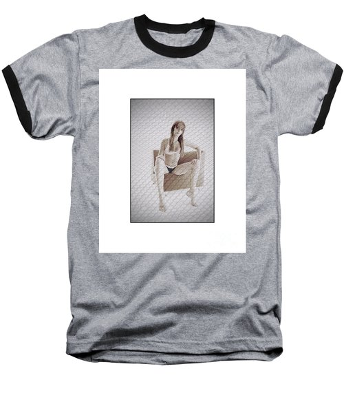 Girl In Underwear Sitting On A Chair Baseball T-Shirt by Michael Edwards