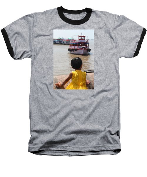 Girl In Yellow Dress W/leaf In Hair Looking At Boats Baseball T-Shirt by Jennifer Mazzucco