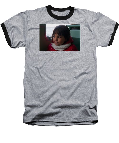 Baseball T-Shirt featuring the photograph Girl On A Water Taxi  by Laura Ragland