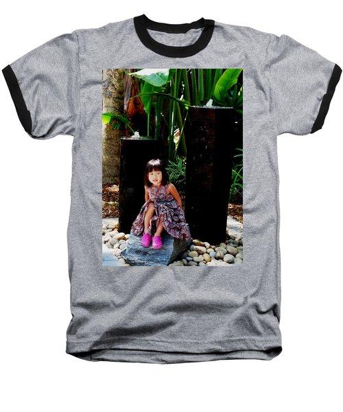Girl On Rocks Baseball T-Shirt by Angela Murray
