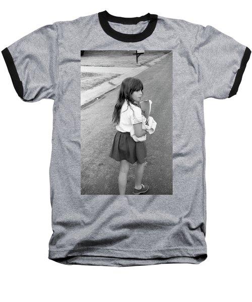 Girl Returns Home From School, 1971 Baseball T-Shirt