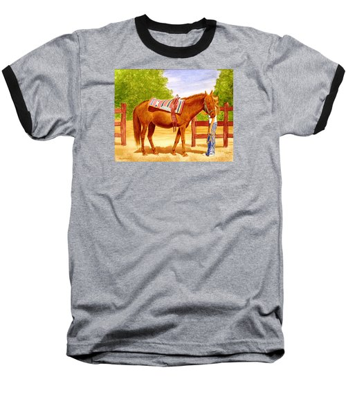 Baseball T-Shirt featuring the painting Girl Talk by Stacy C Bottoms