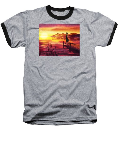 Baseball T-Shirt featuring the painting Girl Watching Sunset At The Lake by Irina Sztukowski