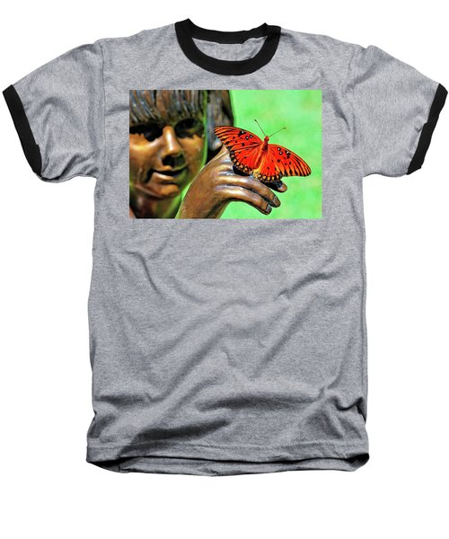 Girl With Butterfly Baseball T-Shirt