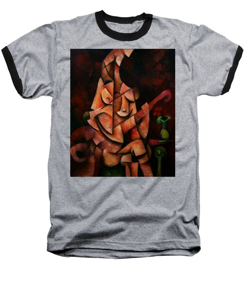 Baseball T-Shirt featuring the painting Girl With Guitar by Kim Gauge