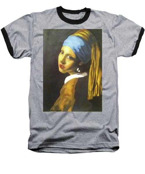 Baseball T-Shirt featuring the painting Girl With Pearl Earring by Jayvon Thomas