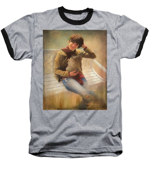 Baseball T-Shirt featuring the photograph Girl With Rabbit by Bellesouth Studio