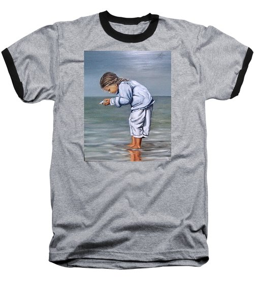 Baseball T-Shirt featuring the painting Girl With Shell by Natalia Tejera