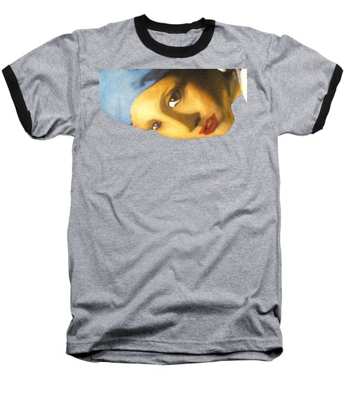 Baseball T-Shirt featuring the painting Girl With The Pearl Earring Side by Jayvon Thomas