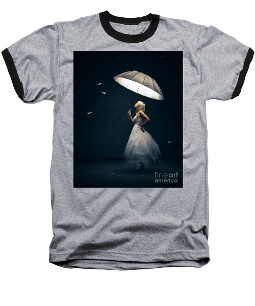 Girl With Umbrella And Falling Feathers Baseball T-Shirt by Johan Swanepoel