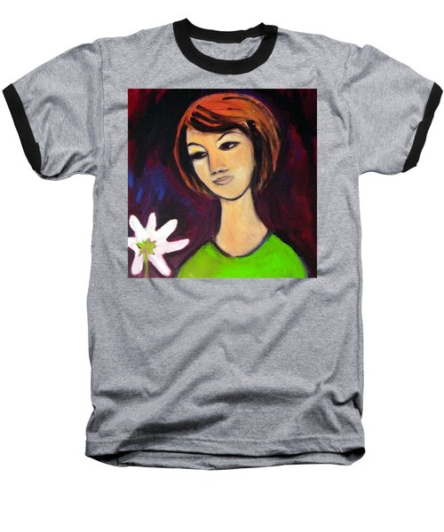 Baseball T-Shirt featuring the painting Girl With White Flower by Winsome Gunning