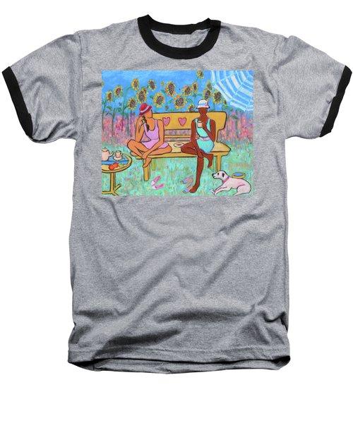 Baseball T-Shirt featuring the painting Girlfriends' Teatime IIi by Xueling Zou