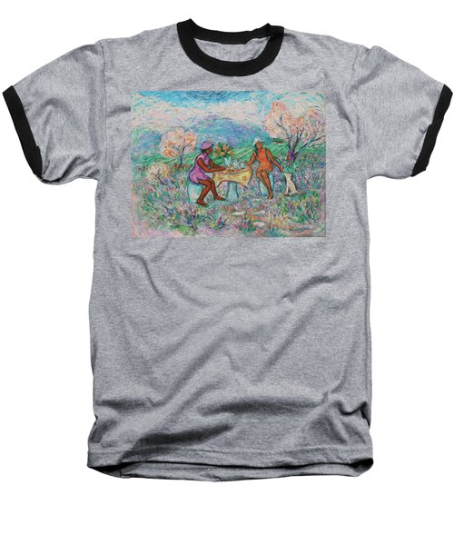 Baseball T-Shirt featuring the painting Girlfriends' Teatime Iv by Xueling Zou