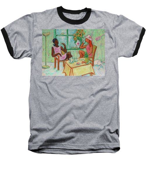 Baseball T-Shirt featuring the painting Girlfriends' Teatime V by Xueling Zou