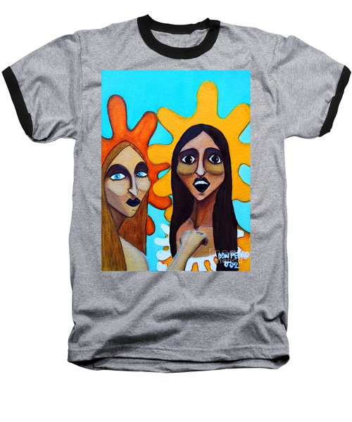 Baseball T-Shirt featuring the painting Girls Caught In Fraganti by Don Pedro De Gracia