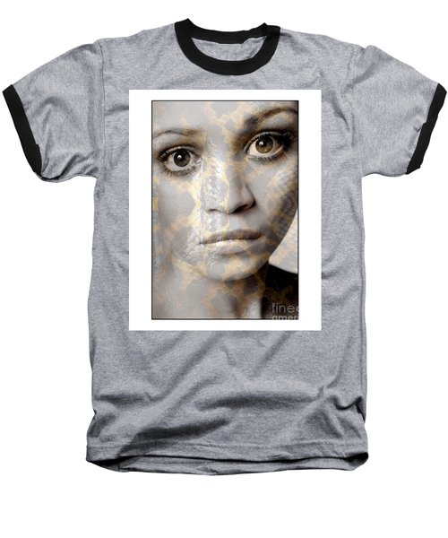 Girls Face With Snake Skin Texture Baseball T-Shirt by Michael Edwards