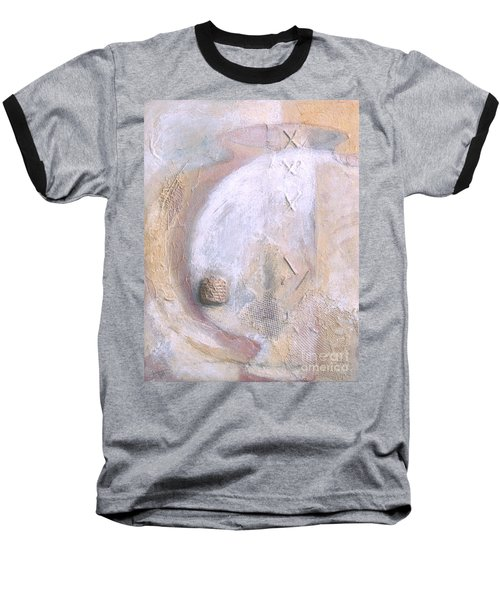 Baseball T-Shirt featuring the painting Give And Receive by Kerryn Madsen-Pietsch