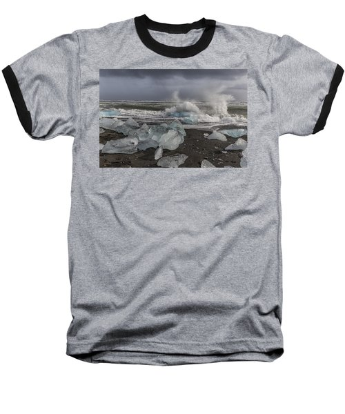 Baseball T-Shirt featuring the tapestry - textile Glacial Lagoon Iceland 2 by Kathy Adams Clark