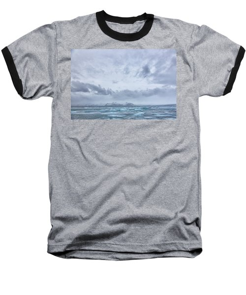 Baseball T-Shirt featuring the tapestry - textile Glacial Lagoon Iceland by Kathy Adams Clark