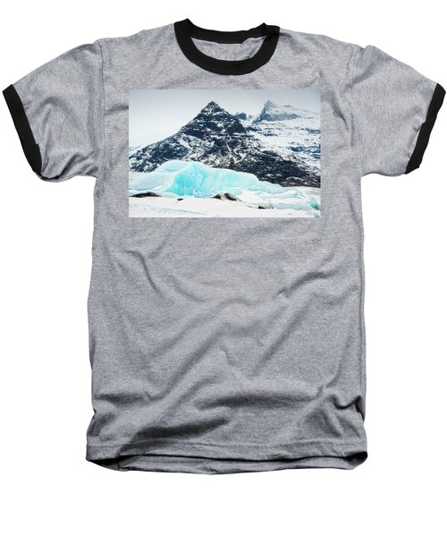 Baseball T-Shirt featuring the photograph Glacier Landscape Iceland Blue Black White by Matthias Hauser