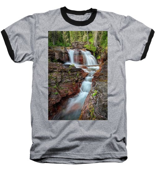 Glacier National Park Waterfall 2 Baseball T-Shirt