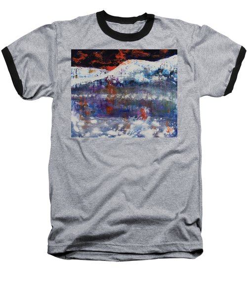 Baseball T-Shirt featuring the painting Glacier Reflections by Walter Fahmy