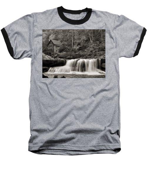 Glade Creek Grist Mill Monochrome Baseball T-Shirt by Chris Flees