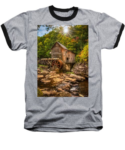 Glade Creek Mill Fall Baseball T-Shirt by Rebecca Hiatt