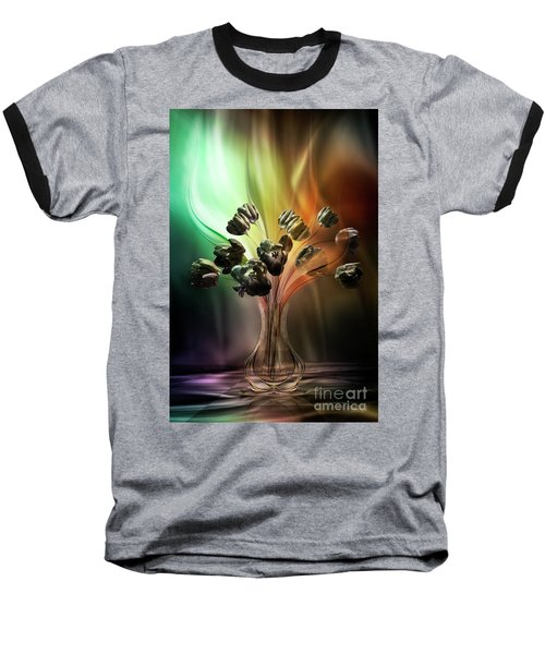 Baseball T-Shirt featuring the digital art Glasblower's Tulips by Johnny Hildingsson