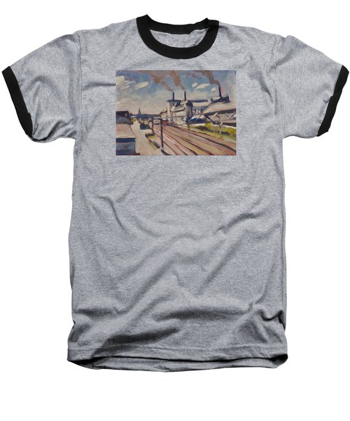 Baseball T-Shirt featuring the painting Glass Factory Along The Railway Track by Nop Briex