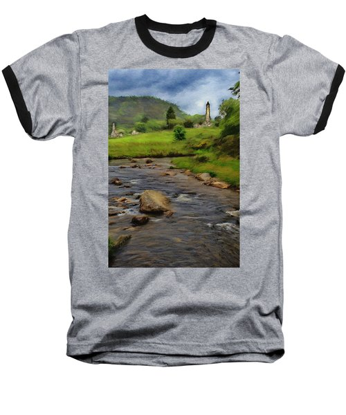 Baseball T-Shirt featuring the painting Glendalough In The Distance by Jeff Kolker