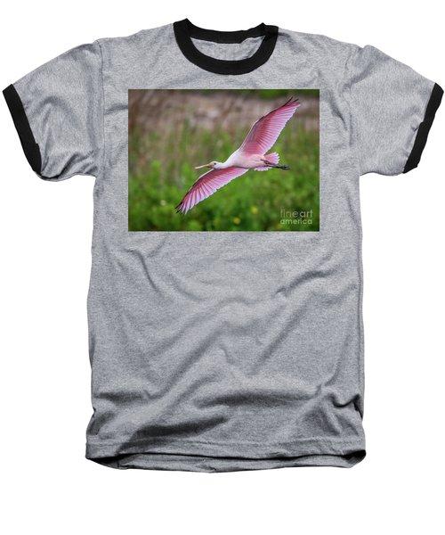 Gliding Spoonbill Baseball T-Shirt