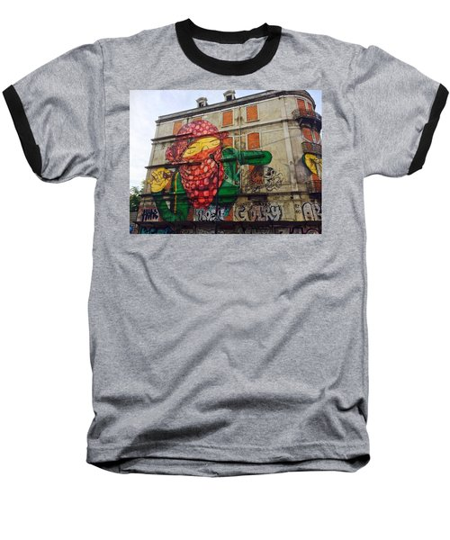 Baseball T-Shirt featuring the painting Globe Building Art Painting by Sheila Mcdonald
