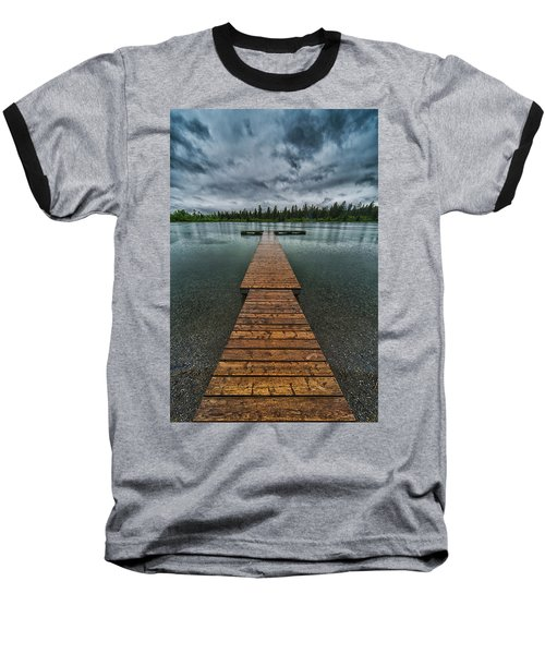 Baseball T-Shirt featuring the photograph Gloomy Rainy Day On Norbury Lake by Darcy Michaelchuk