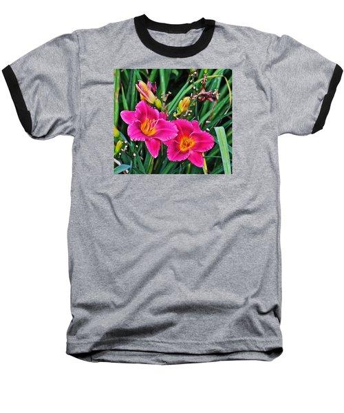 Glorious Daylilies Baseball T-Shirt by Janis Nussbaum Senungetuk