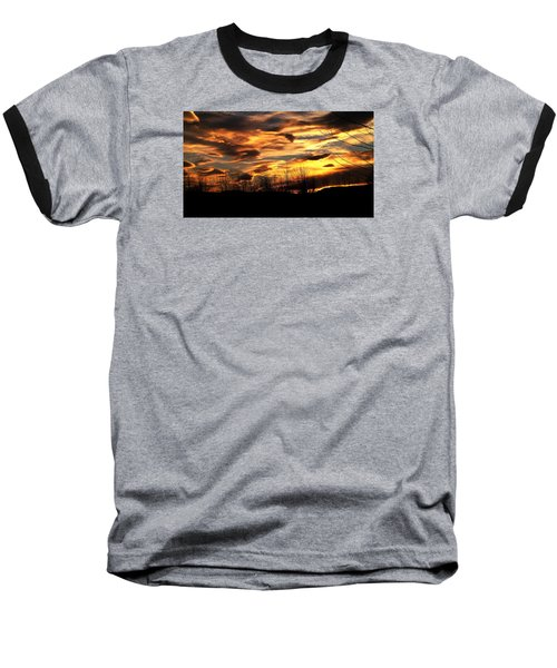 Glorious Maine Sunset Baseball T-Shirt by Mike Breau