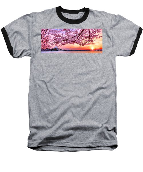 Glorious Sunset Over Cherry Tree At The Jefferson Memorial  Baseball T-Shirt