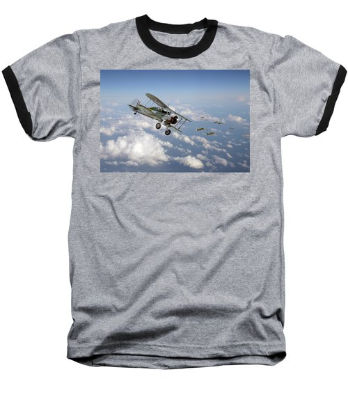 Baseball T-Shirt featuring the digital art  Gloster Gladiator - Malta Defiant by Pat Speirs