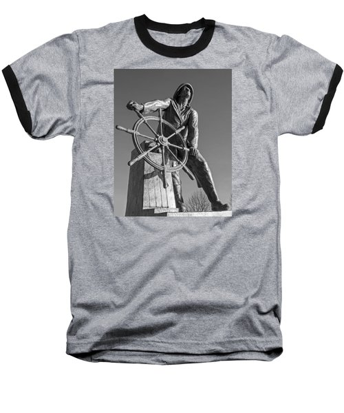 Gloucester Fisherman's Memorial Statue Black And White Baseball T-Shirt