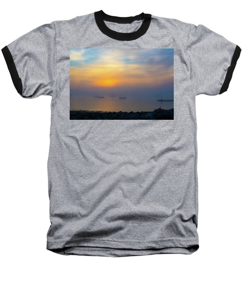 Gloucester Harbor Foggy Sunset Baseball T-Shirt